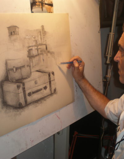 José-Ángel-pintando-obra-personalizada-para-Fco